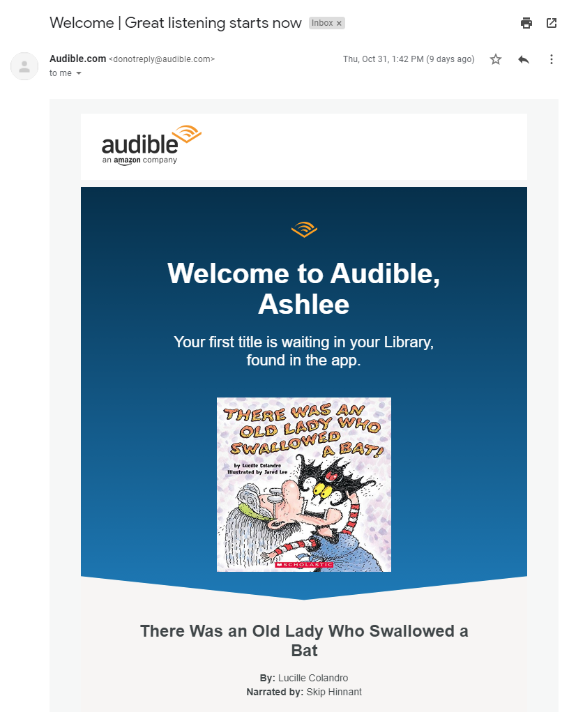 An email welcoming us to Audible, which we had been subscribed to unbeknownst to us.
