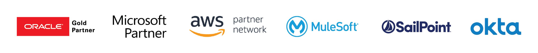 Oracle, Microsoft, AWS, MuleSoft, SailPoint, and Okta logos