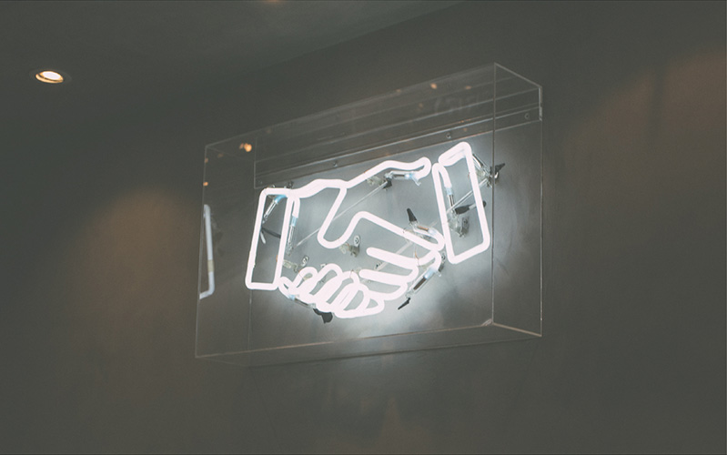 Handshake Neon Sign