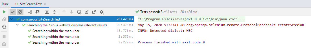 Test results in IntelliJ IDEA