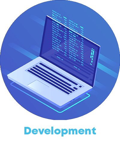 Computer icon and the word development written
