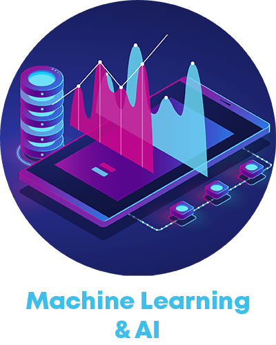 high tech machine and data icon and the term machine learning and ai
