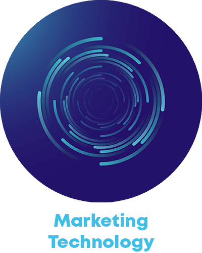 tech circle icon and the term marketing technology