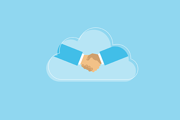Cloud Behind Partners Shaking Hand